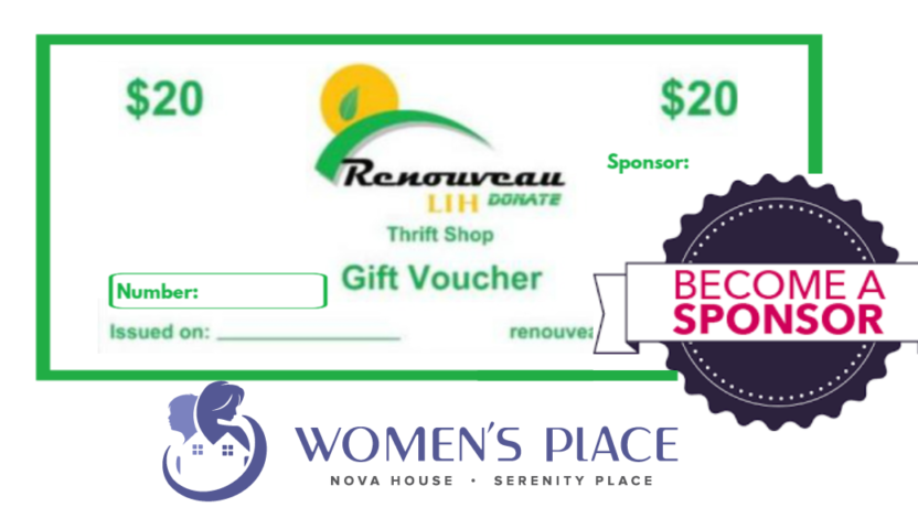 NEW PROGRAM! Sponsor Gift Vouchers in Support of Women's Place of South Niagara