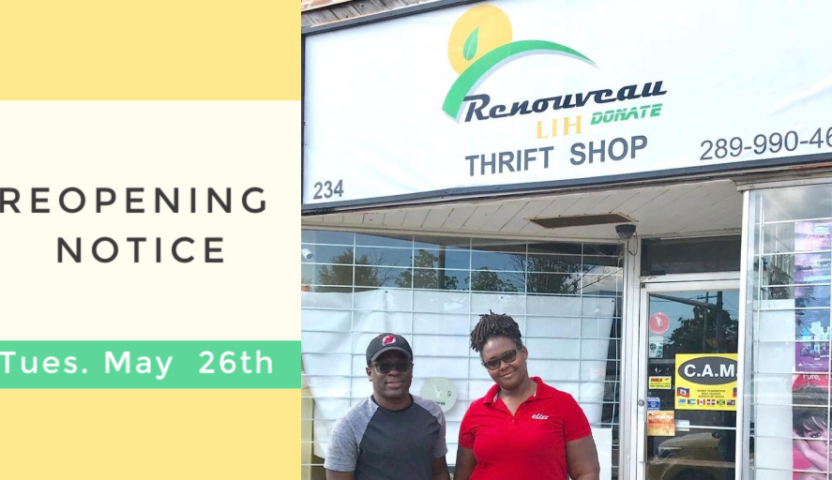 Renouveau LIH Donate Thrift Shop Reopening on May 26th